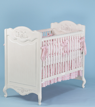 Coco Chenille bedding on #200 Country French Rectangular Crib