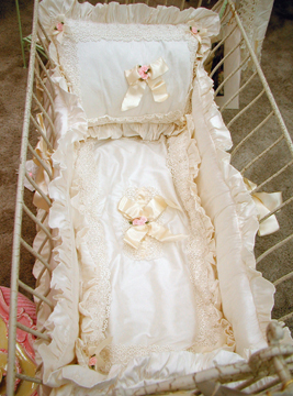 Rosette bedding on #209 Country French Rectangular Cradle